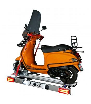Zorro, porte-moto pliable pour camping-car avec éclairage LED